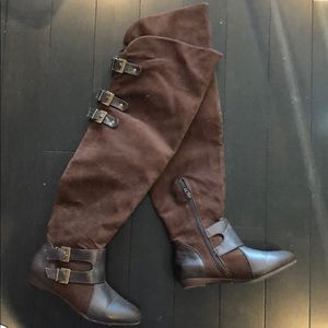 Shoes - Size 7 suede brown boots thigh high